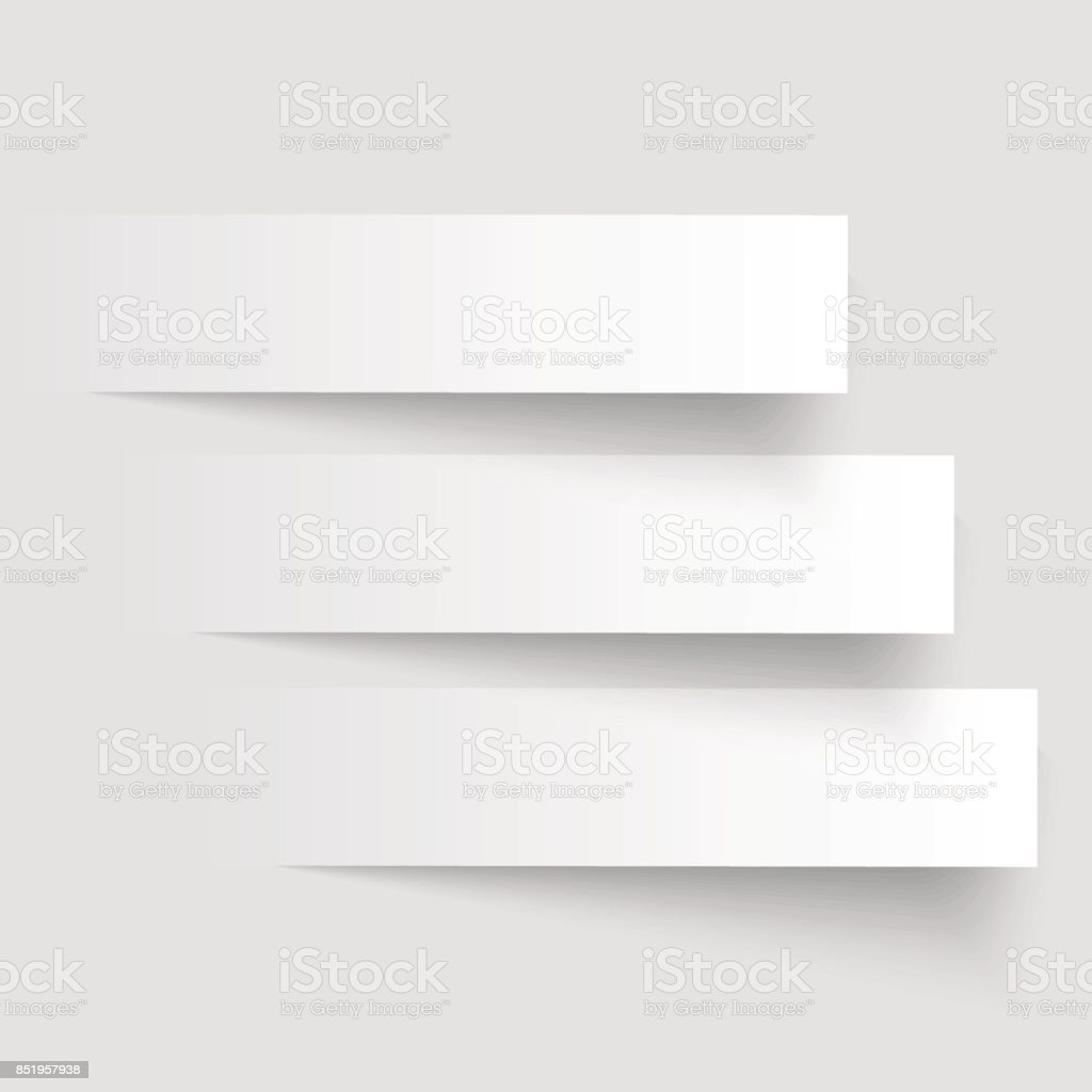 3 cutting banners on the grey background. Vector illustration. vector art illustration