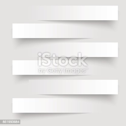 istock 6 cutting banners on the grey background. Vector illustration. 851993684