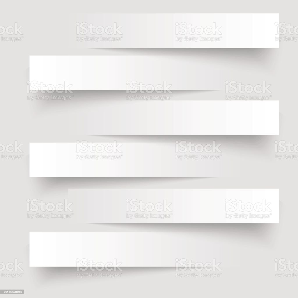 6 cutting banners on the grey background. Vector illustration. vector art illustration
