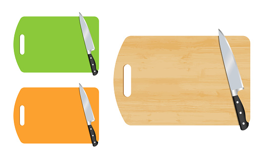 Cutting board and kitchen knife. Vector.