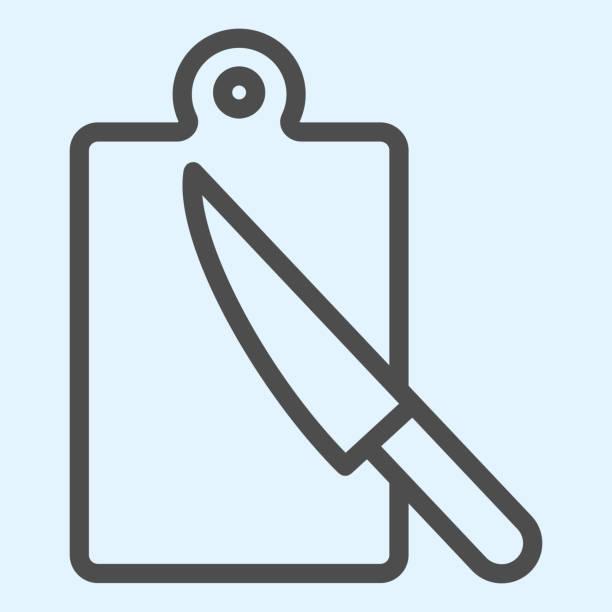 bildbanksillustrationer, clip art samt tecknat material och ikoner med ikonen för att klippa av anslagstavlalinje. hugga vedplatta och bordskniv. hem-stil kök vektor design koncept, disposition stil piktogram på vit bakgrund, användning för webb och app. eps 10. - wood sign isolated