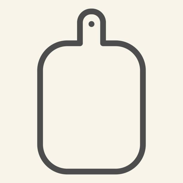 ilustrações de stock, clip art, desenhos animados e ícones de cutting board line icon. wooden chopping board symbol, outline style pictogram on beige background. kitchen equipment sign for mobile concept and web design. vector graphics. - meat texture