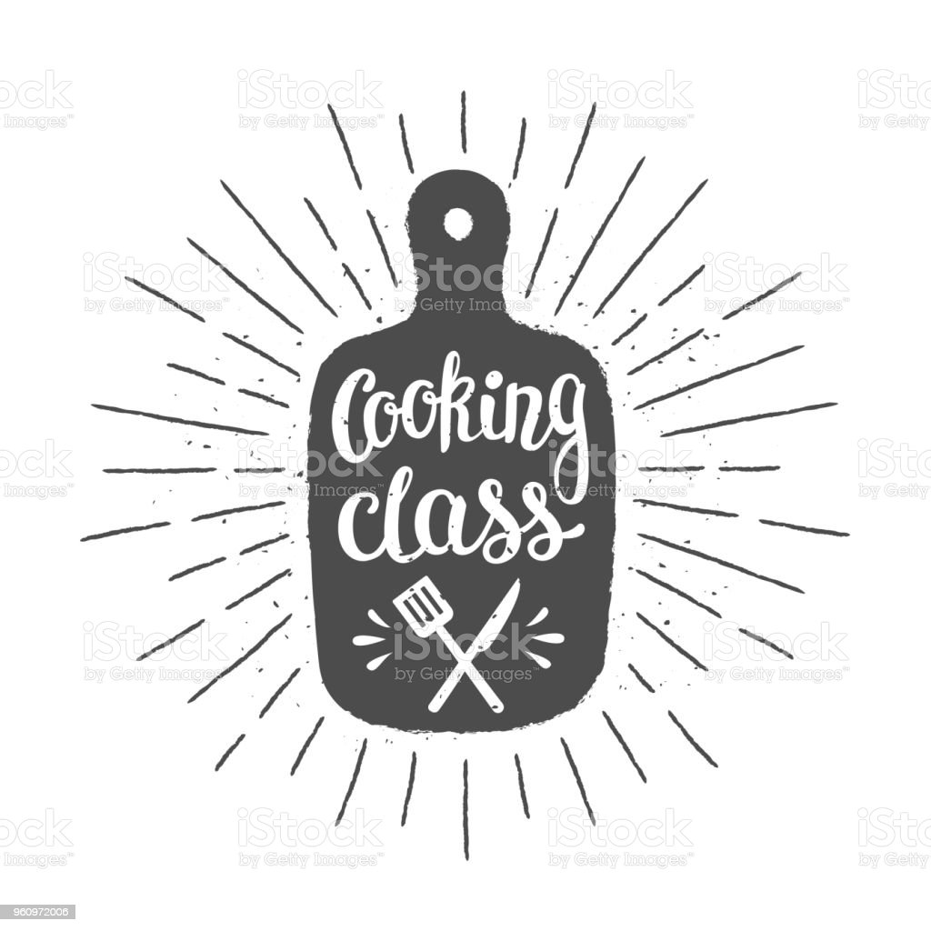 Cutting board silhoutte with lettering - Cooking class - and vintage sun rays. vector art illustration