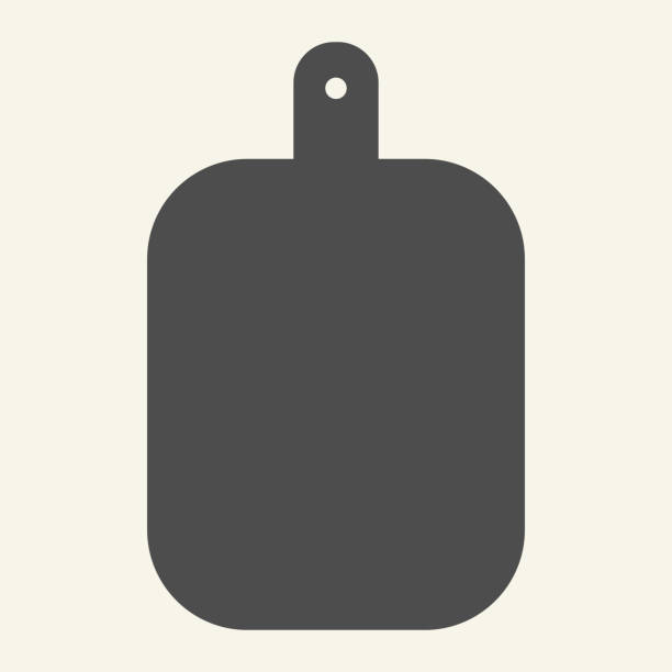 ilustrações de stock, clip art, desenhos animados e ícones de cutting board solid icon. wooden chopping board symbol, glyph style pictogram on beige background. kitchen equipment sign for mobile concept and web design. vector graphics. - meat texture