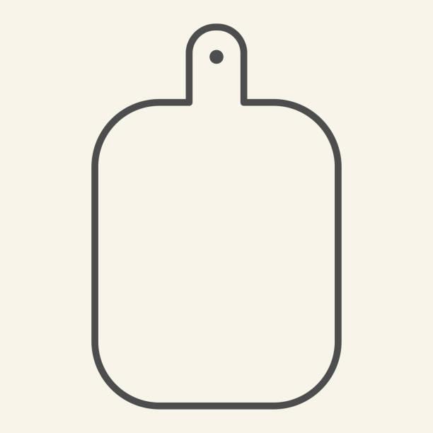 ilustrações de stock, clip art, desenhos animados e ícones de cutting board thin line icon. wooden chopping board symbol, outline style pictogram on beige background. kitchen equipment sign for mobile concept and web design. vector graphics. - meat texture