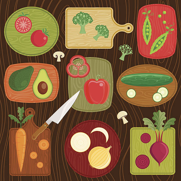 Cutting Board Vegetables Various sliced and whole raw vegetables on cutting Boards.  cutting board stock illustrations