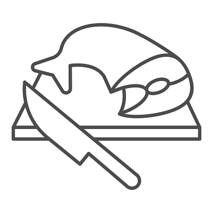 Cutting board with fish and knife thin line icon, seafood concept, Cooking and cutting fresh fish sign on white background, Fish prepared on cutting board icon in outline style. Vector graphics.