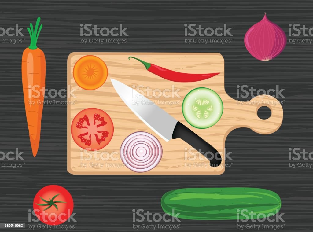 Cutting Board With Knife And Vegetables cutting board with knife and vegetables – cliparts vectoriels et plus d'images de aliment libre de droits
