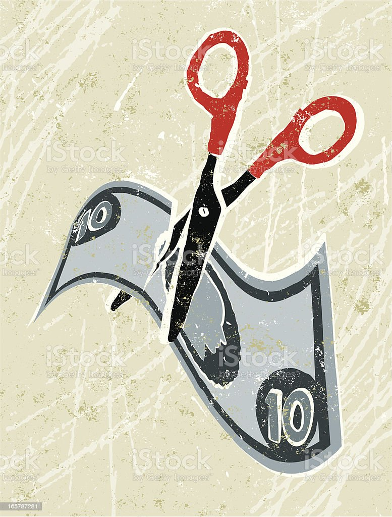 Cutting Costs, Money and Scissors royalty-free stock vector art