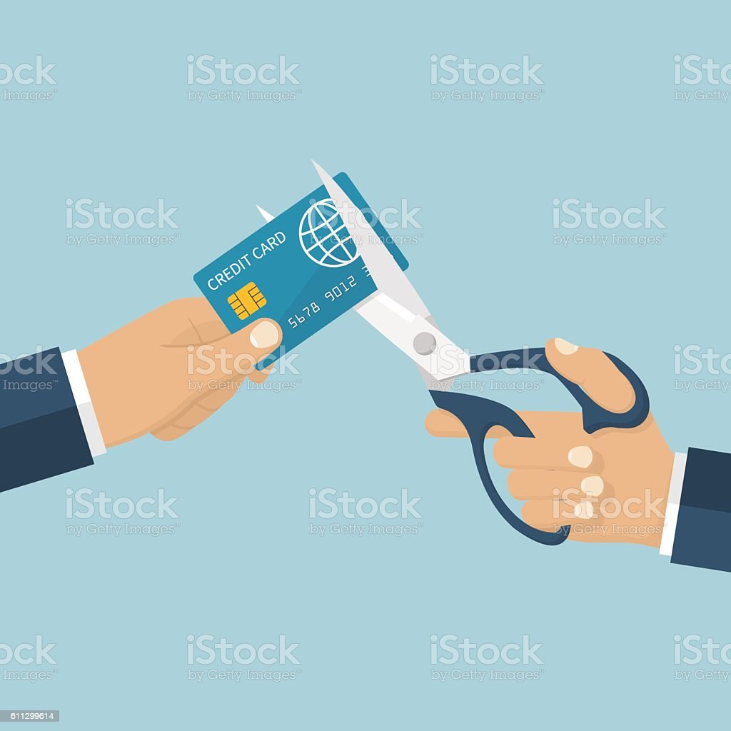Cutting credit card. vector art illustration