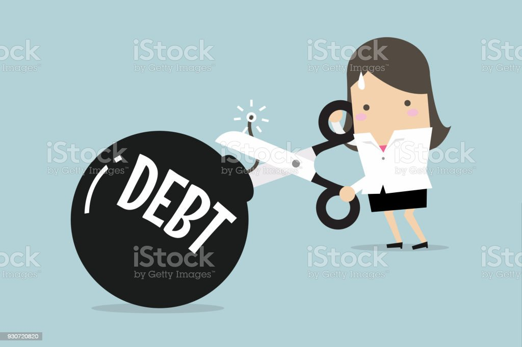 Cutting debt bomb, businesswoman's hand holding scissors to cut debt. vector art illustration