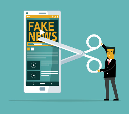 cutting - Fake news - mobile phone