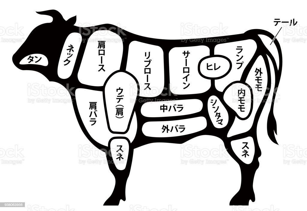 Cutting Meat Diagram Guide For Cow Stock Vector Art & More Images of ...