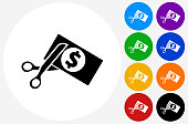 Cutting Money Icon on Flat Color Circle Buttons. This 100% royalty free vector illustration features the main icon pictured in black inside a white circle. The alternative color options in blue, green, yellow, red, purple, indigo, orange and black are on the right of the icon and are arranged in two vertical columns.