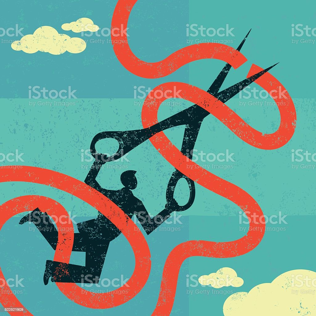 Cutting red tape vector art illustration