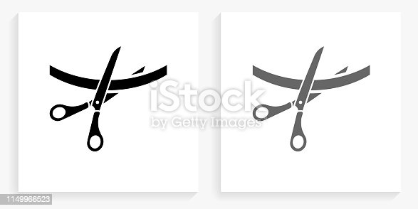Cutting Ribbon Black and White Square Icon. This 100% royalty free vector illustration is featuring the square button with a drop shadow and the main icon is depicted in black and in grey for a roll-over effect.