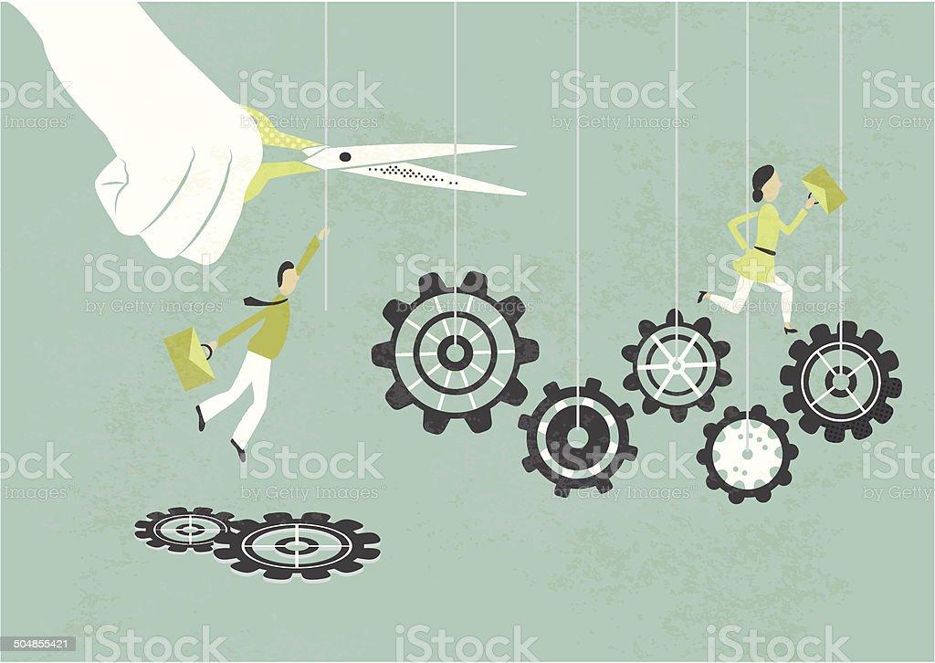 cutting staff vector art illustration