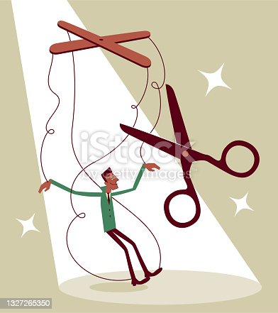 istock Cutting the strings of the businessman marionette (puppet) 1327265350