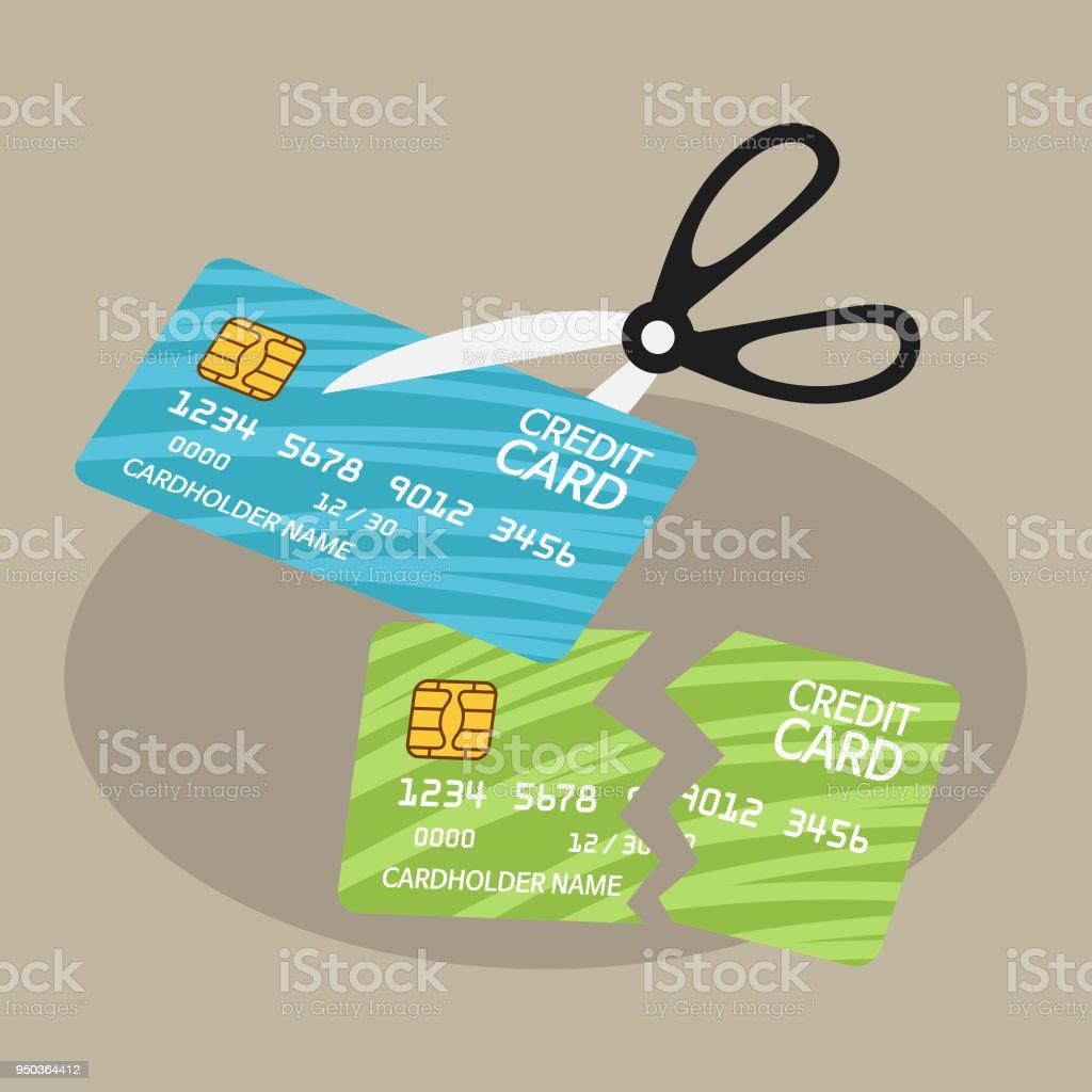 カティングアップクレジットカードとハサミ はさみのベクターアート