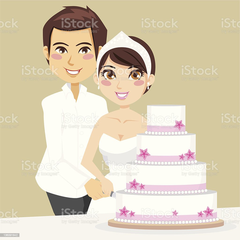 Cutting Wedding Cake Stock Vector Art & More Images of Adult ...