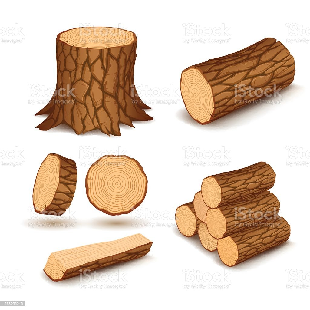 Cutting wood elements vector art illustration