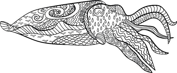 Royalty free cuttlefish clip art vector images for Cuttlefish coloring pages