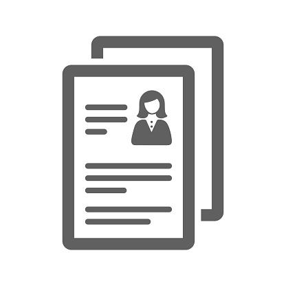Cv, resume icon / gray color