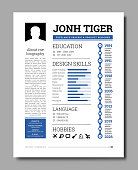 Cv resume template vector illustration with a timeline of work, training, description of skills, hobbies and other information