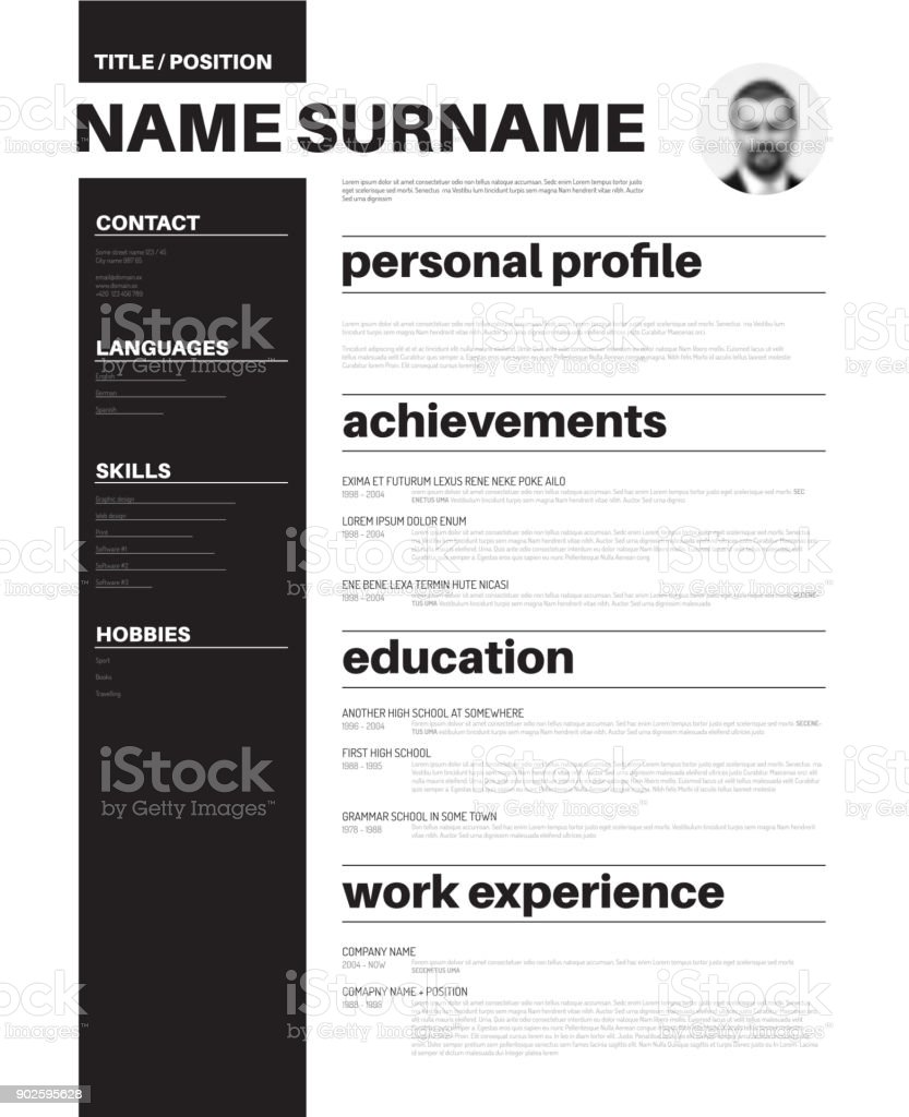 Cv Resume Template With Nice Typography Stock Vector Art  More