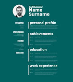 Vector minimalist cv / resume template with nice typogrgaphy design - teal version