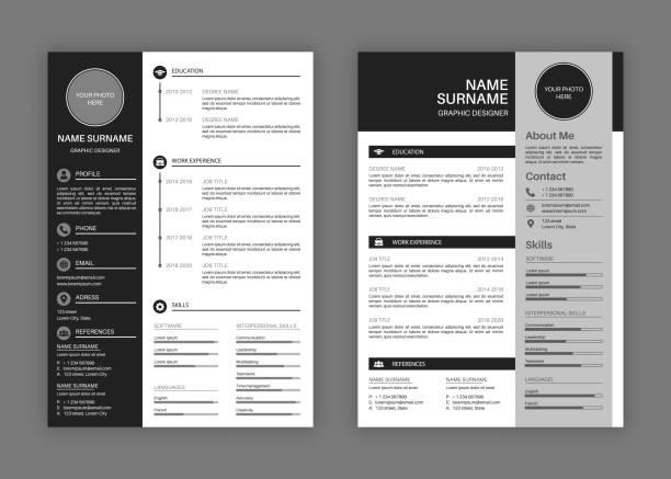 cv templates. professional resume letterhead, cover letter business layout job applications, personal description profile vector set - business cv templates stock illustrations