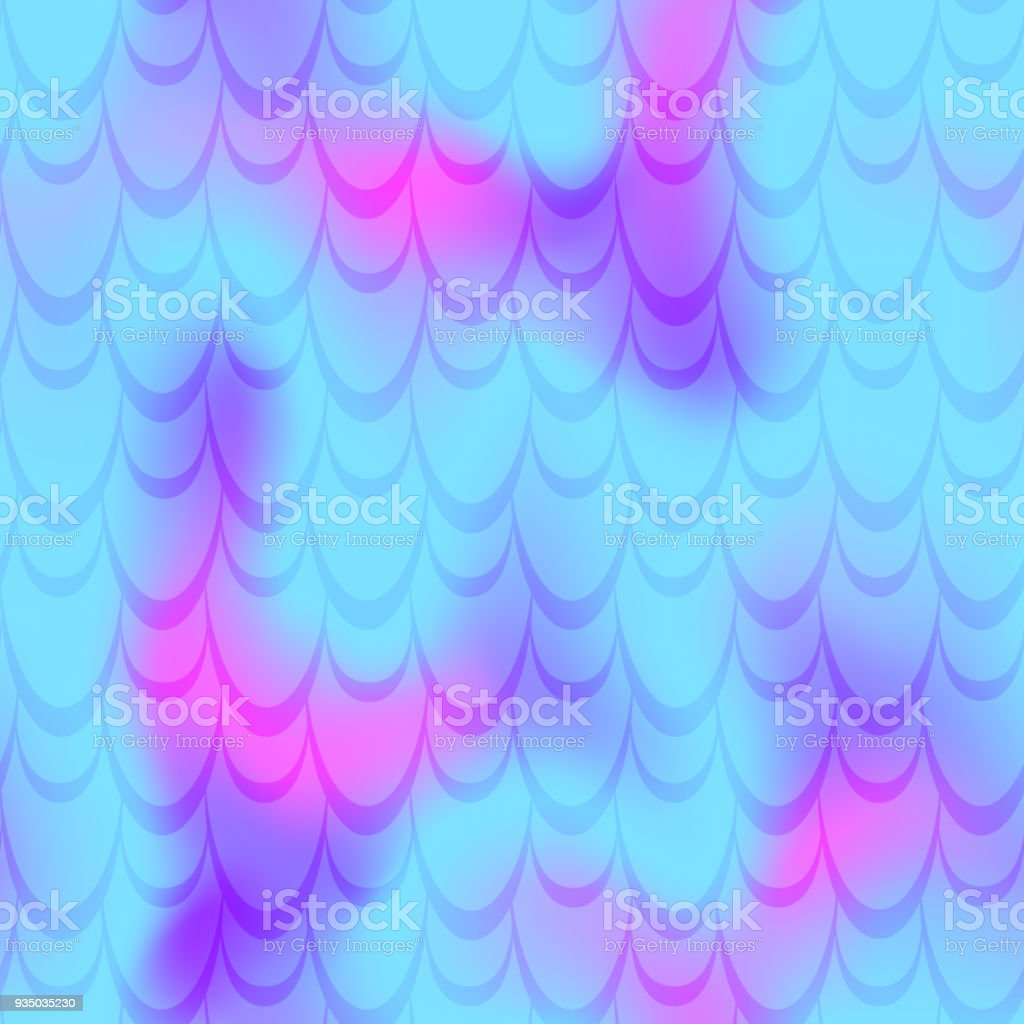 Cyan blue pink mermaid scale vector background. Neon iridescent background. Fish scale pattern. vector art illustration