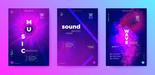 illustrazioni stock, clip art, cartoni animati e icone di tendenza di cyan flow music. flyer dj. purple electronic - concerto