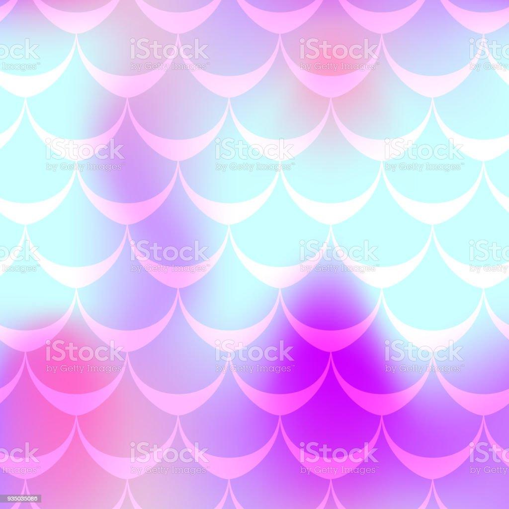 Cyan pink mermaid skin vector seamless pattern. Cosmic iridescent background. vector art illustration