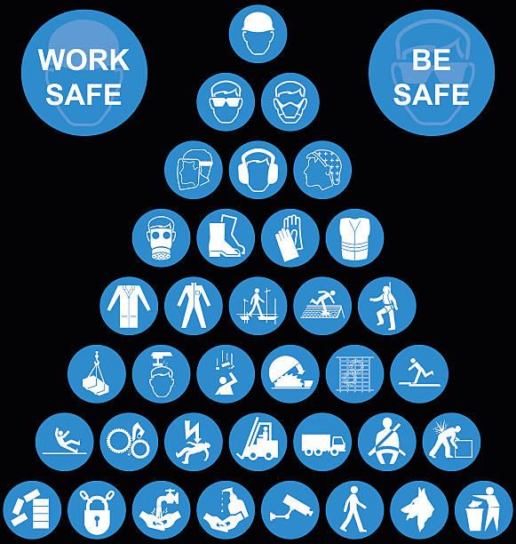 ilustraciones, imágenes clip art, dibujos animados e iconos de stock de cyan pyramid health and safety icon collection - equipo de seguridad