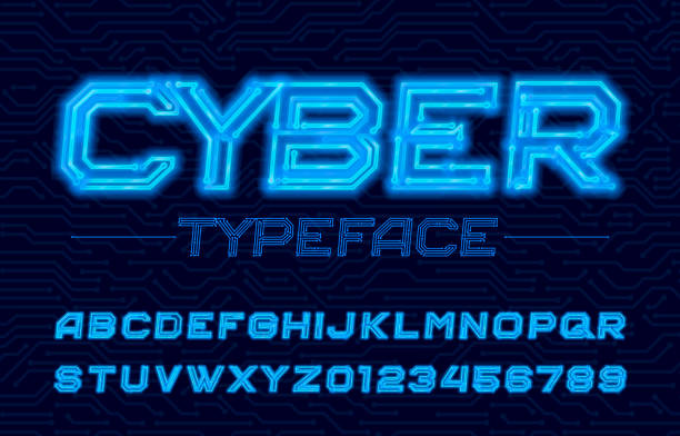 Cyber alphabet font. Neon electronic letters and numbers. Cyber alphabet font. Neon electronic letters and numbers. Stock vector circuit board typescript. cyborg stock illustrations
