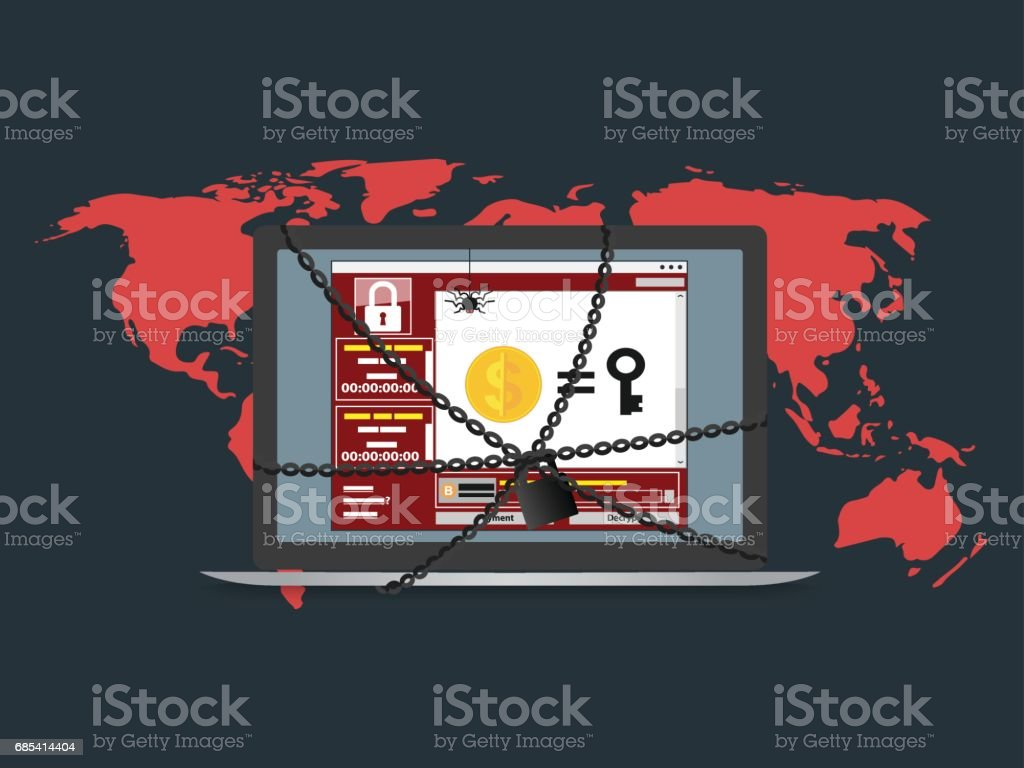 Cyber attack malware wannacry ransowmare virus encrypted files and lock computer. vector illustration concept. cyber attack malware wannacry ransowmare virus encrypted files and lock computer vector illustration concept - arte vetorial de stock e mais imagens de chave royalty-free