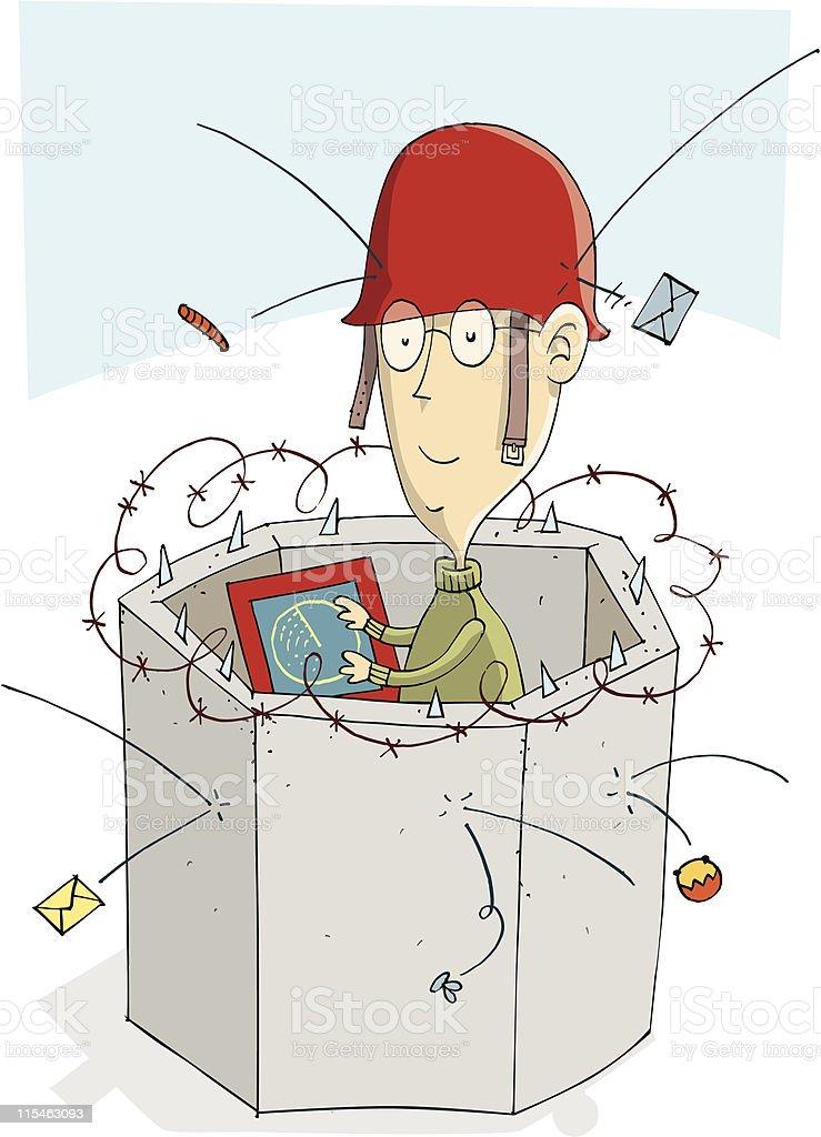 Cyber attack vector art illustration