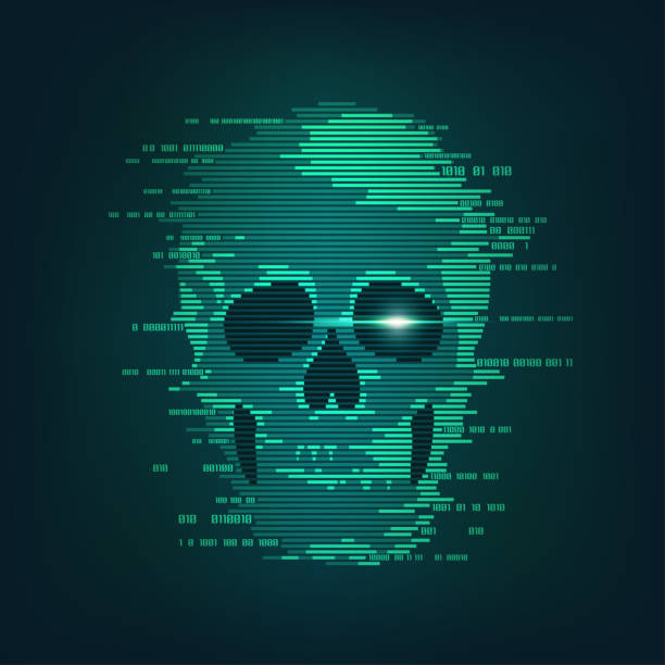 cyber attack concept of cyber crime, internet piracy and hacking, shape of skull combined with binary code hacker stock illustrations