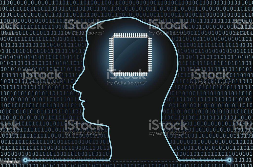 Cyber cervello Chip - illustrazione arte vettoriale