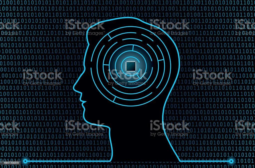 Cyber Brain Maze royalty-free stock vector art