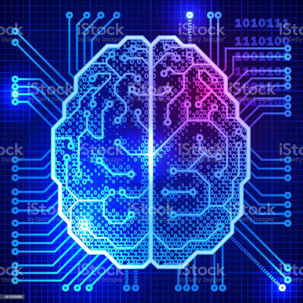 Cyber brain vector art illustration