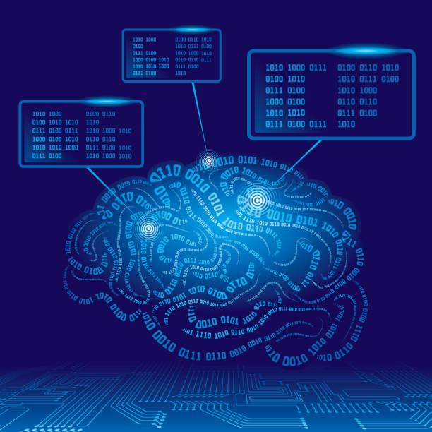 Cyber cerebro - ilustración de arte vectorial