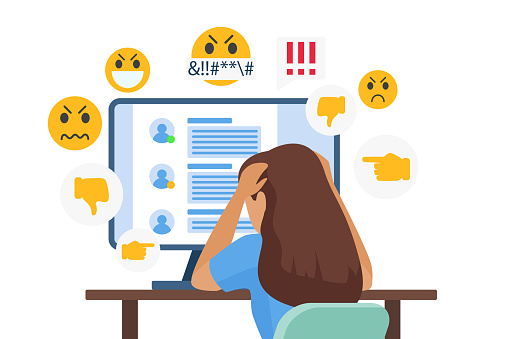 Cyber bullying people vector illustration, cartoon flat sad young bullied girl character sitting in front of computer with online dislike in social media