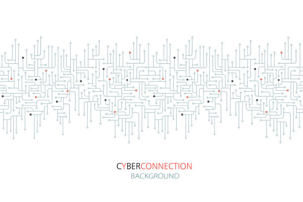cyber connection electronic circuit background. - sztuczna inteligencja stock illustrations