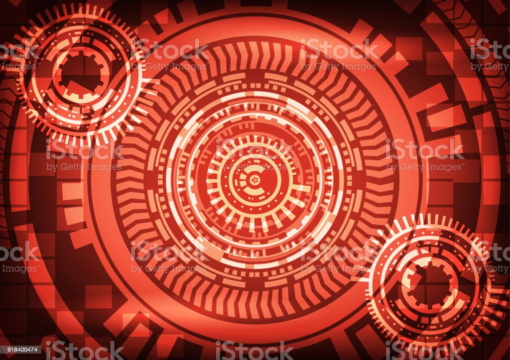 Cyber Crime Abtract Technology Red Background With Gear