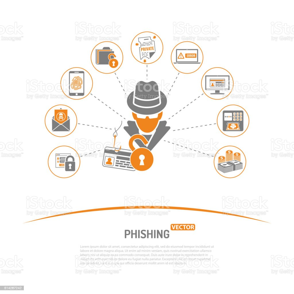 Cyber Crime Concept Phishing vector art illustration