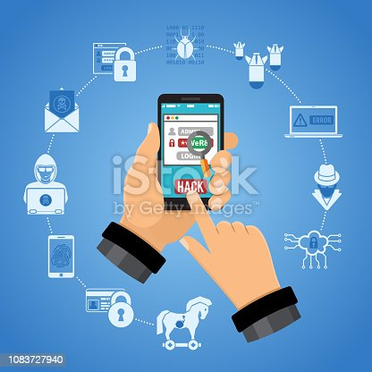 Cyber Crime Concept. Hacker holding smart phone in hand and hacks password. Flat style icons Hacker, Virus, Bug, Spam and Social Engineering. isolated vector illustration
