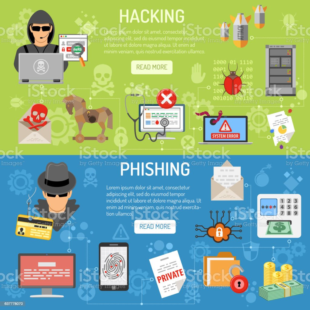 Cyber Crime hacking and phishing Banners vector art illustration
