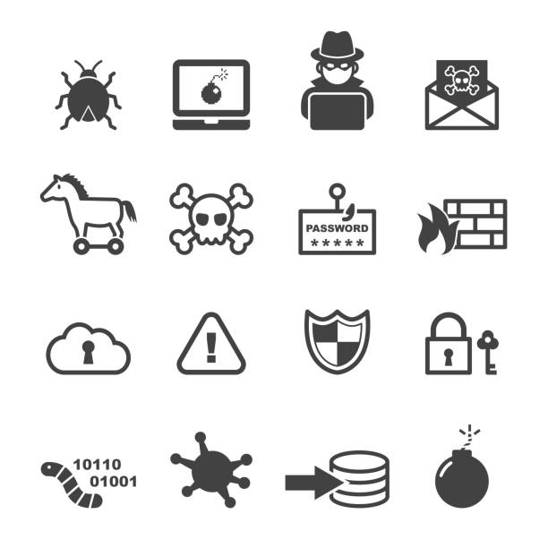 cyber crime icons cyber crime icons, mono vector symbols hacker stock illustrations